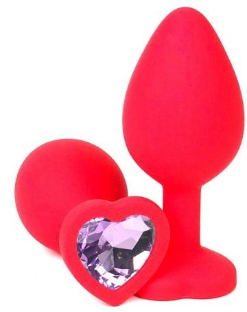Красная силиконовая пробка с сиреневым кристаллом-сердечком - 7 см.