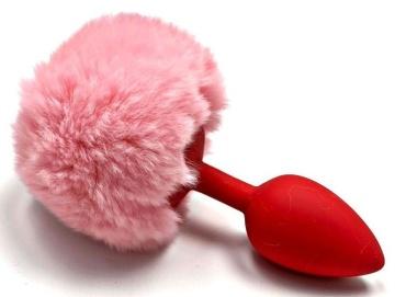 Красная анальная пробка с пушистым нежно-розовым хвостиком зайки