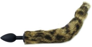 Черная анальная пробка с кошачьим хвостиком