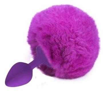 Фиолетовая анальная пробка с ярко-розовым пушистым хвостиком зайки