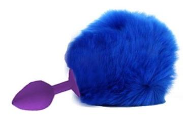 Фиолетовая анальная втулка с пушистым синим хвостиком зайки