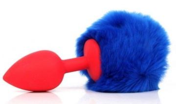 Красная анальная пробка с пушистым синим хвостиком зайки