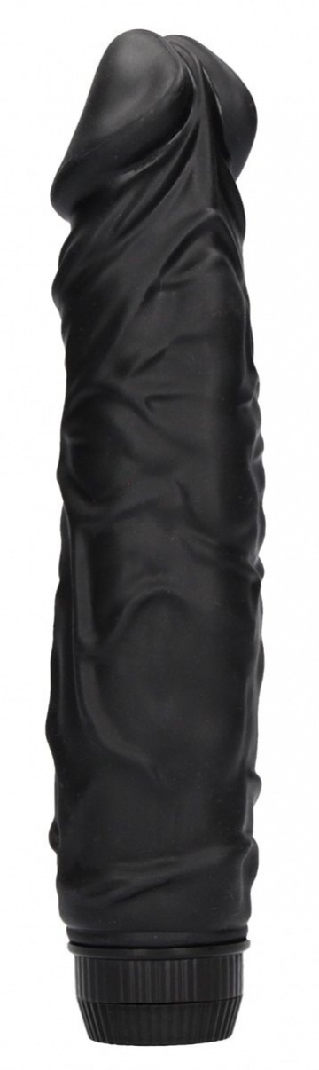 Черный вибромассажер Realisic Multispeed Vibrator - 23 см.