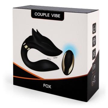Черный вибратор для пар Fox с пультом ДУ