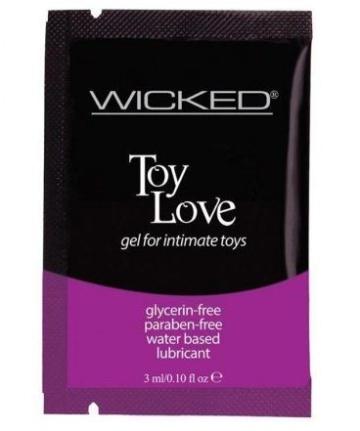 Лубрикант на водной основе для использования с игрушками WICKED Toy Love - 3 мл.