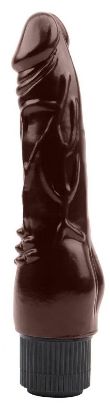 Коричневый вибратор-реалистик Vibrating Naughty Cock - 20 см.
