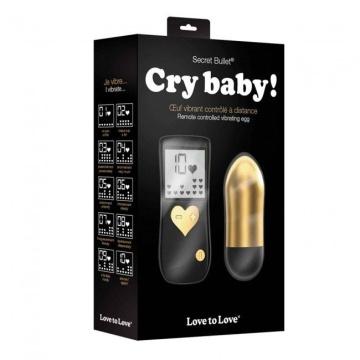 Золотистая вибропуля Cry Baby - 8 см.