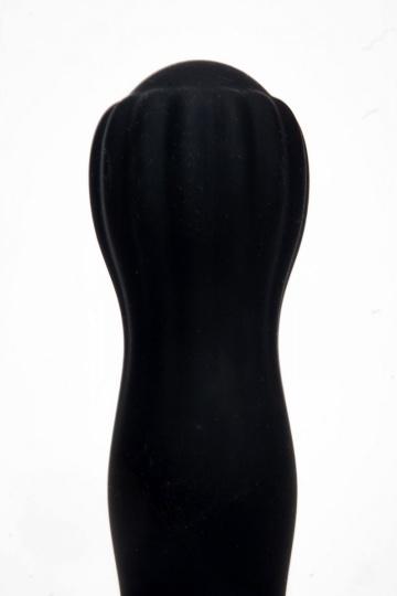 Черный силиконовый вибратор с бутоном-головкой - 18 см.