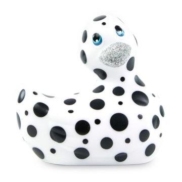 Белый вибратор-уточка I Rub My Duckie 2.0 Happiness в черный горох
