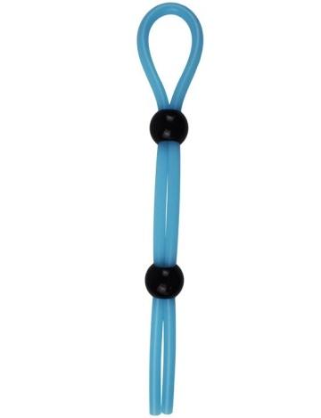 Голубое эрекционное лассо с двумя утяжками - 20 см.