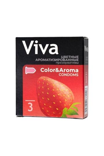 Цветные презервативы VIVA Color&Aroma с ароматом клубники - 3 шт.