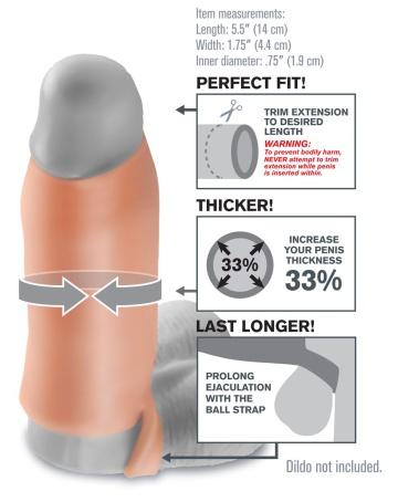 Насадка-расширитель с кольцом для подхвата мошонки Real Feel Enhancer - 14 см.