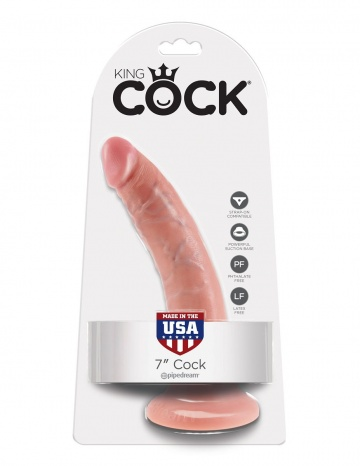 """Телесный фаллоимитатор с присоской 7"""" Cock - 17,8 см."""