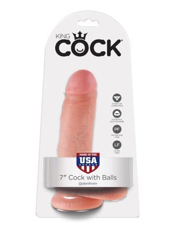 """Фаллоимитатор с мошонкой 7"""" Cock with Balls на присоске - 19,4 см."""