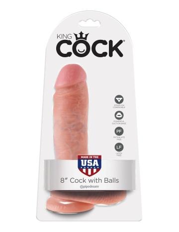 """Телесный фаллоимитатор 8"""" Cock with Balls - 21,3 см."""
