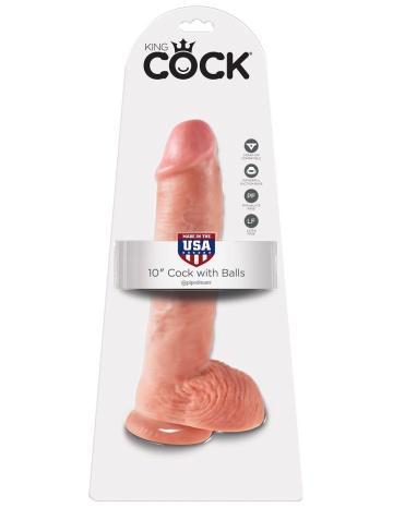 "Большой фаллоимитатор с мошонкой 10"" Cock with Balls на присоске - 25,4 см."