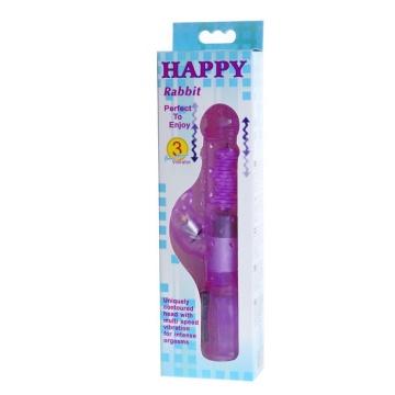 Фиолетовый хай-тек вибратор Happy Bunny - 22,5 см.