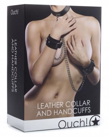 Чёрный комплект для бондажа Leather Collar and Handcuffs
