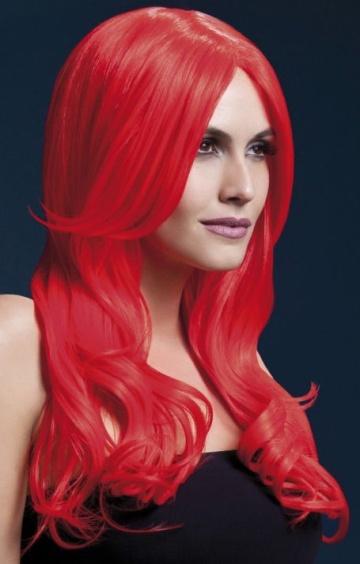 Красный парик с длинной челкой Khloe