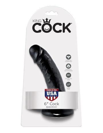"""Чёрный фаллоимитатор с присоской 6"""" Cock - 15,2 см."""