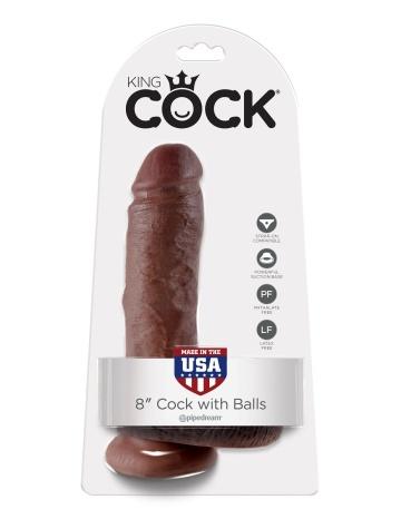 "Коричневый фаллоимитатор 8"" Cock with Balls - 21,3 см."