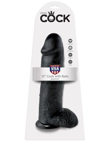 "Чёрный фаллоимитатор-гигант 12"" Cock with Balls - 30,5 см."