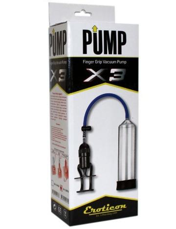 Прозрачная вакуумная помпа Eroticon PUMP X3 с ручным насосом
