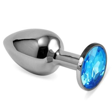 Серебристая анальная пробка с голубым кристаллом размера S - 7 см.