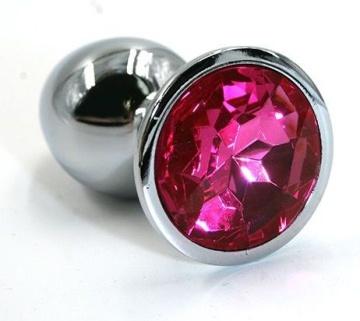 Серебристая алюминиевая анальная пробка с ярко-розовым кристаллом - 6 см.