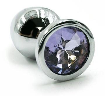 Серебристая алюминиевая анальная пробка с светло-фиолетовым кристаллом - 7 см.