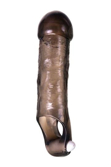 Закрытая дымчатая насадка Toyfa XLover с подхватом - 15,5 см.
