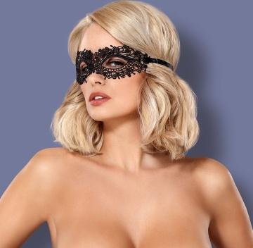 Чёрная ажурная маска на глаза на завязках