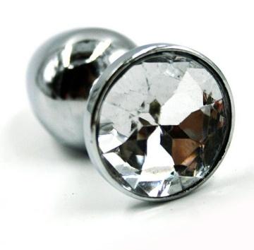 Малая анальная пробка из алюминия с прозрачным кристаллом - 7 см.