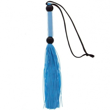 Голубая мини-плеть из силикона и акрила SILICONE FLOGGER WHIP - 25,6 см.