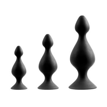 Набор из 3 чёрных анальных силиконовых втулок MENZSTUFF 3-PIECE ANAL PAWN SET