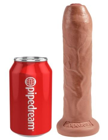 """Кофейный необрезанный фаллоимитатор на присоске 7"""" Uncut Cock - 19,1 см."""