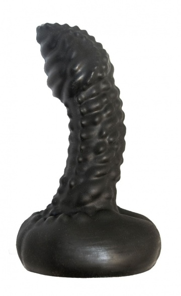 Чёрный анальный плаг с пупырышками для стимуляции простаты - 9,5 см.